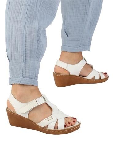 Modabuymus Modabuymus  Hakiki Deri Dolgu n Anatomik Cırtlı Sandalet - Aliya Beyaz